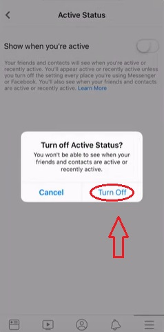 Click on Turn off to appear offline on Facebook.