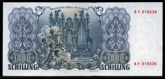 Euro Europe money Austria 1000 Austrian Schilling banknote