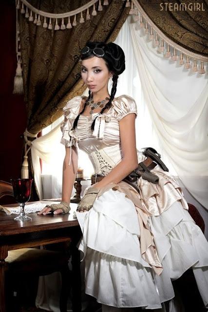 lolita steampunk kato steamgirl dress goggles corset gloves necklace