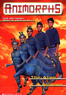 A centaur-like alien with blue fur and stalk-eyes (Aximili the Andalite) turns into a human