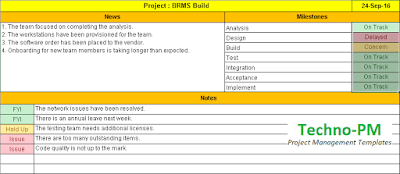 Project Management Status Report Free Download