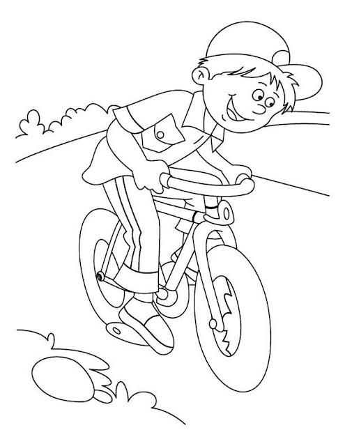 Gambar Mewarnai Bermain Sepeda - 3