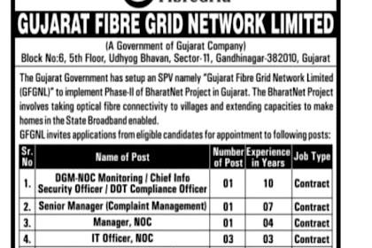 Gujarat Fibre Grid Network Limited (GFGNL) Recruitment for Various Posts 2020