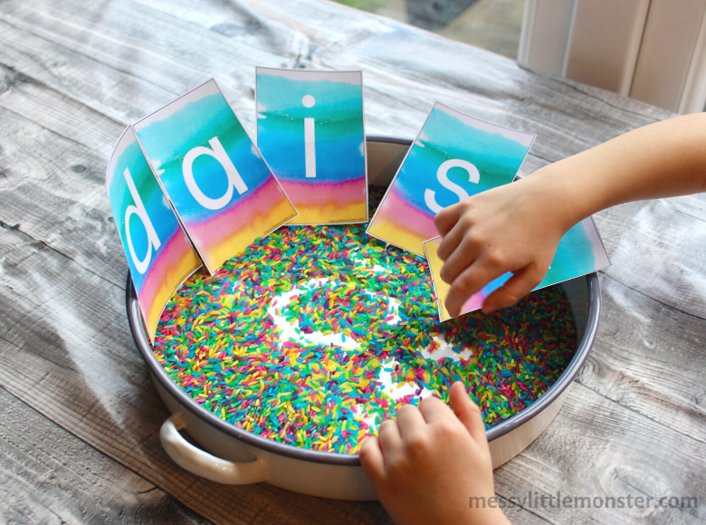 Rainbow rice name writing activity