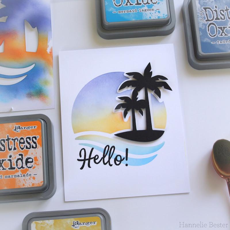 Ink blended - sunset - island inspired card