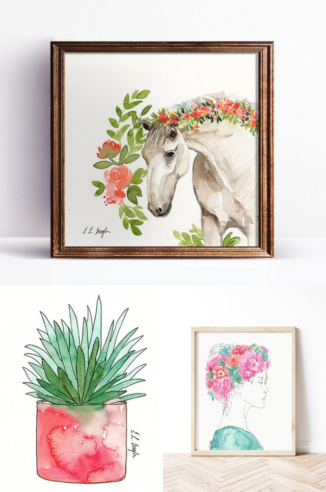 Original watercolor paintings by Elise Engh