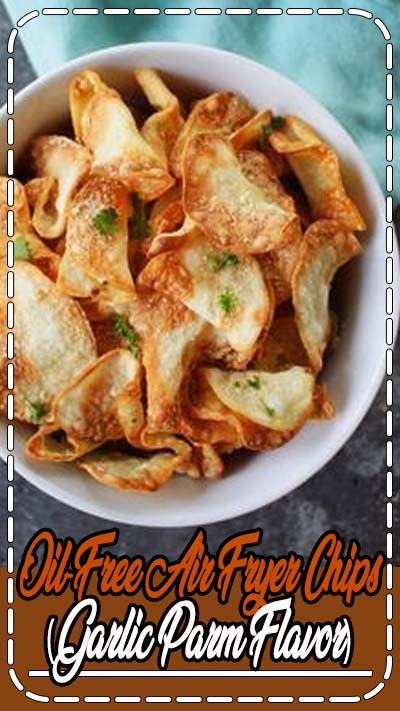 These air fryer chips are healthy, oil-free, vegan, and full of incredibly garlicky, cheesy flavor.