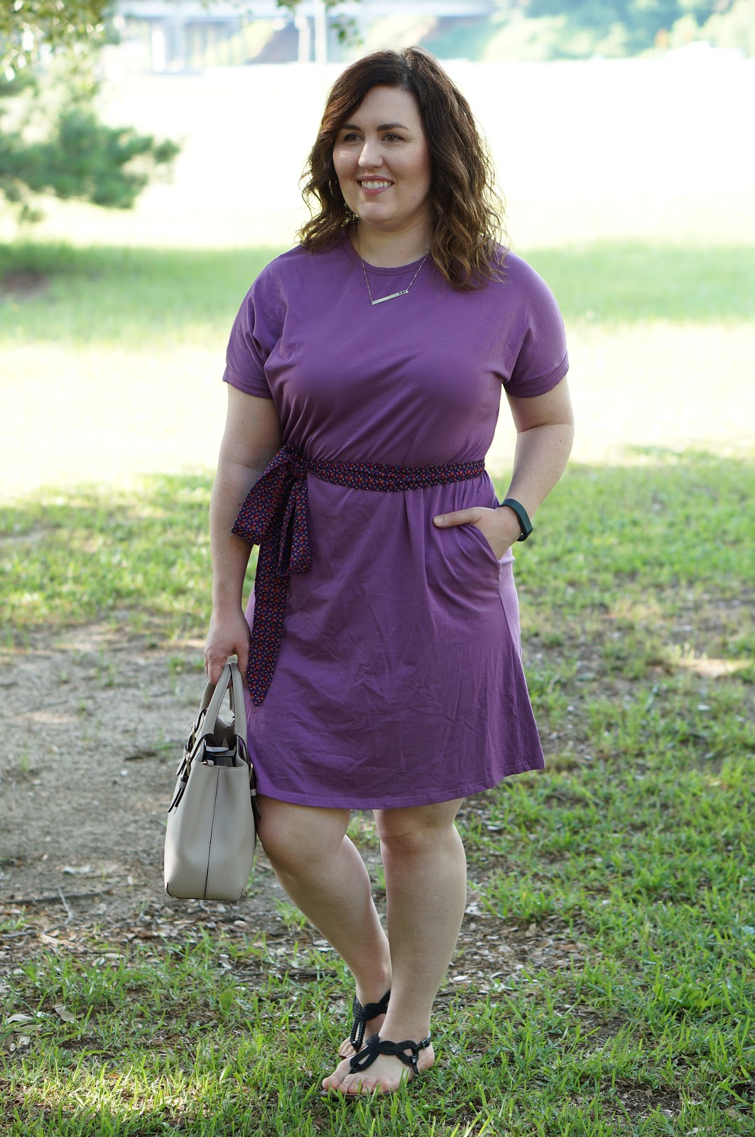 Rebecca Lately Elegantees Lauren Dress Grape Sash