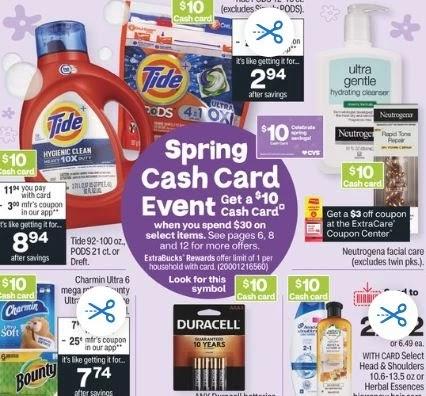 Bounty, Charmin, Tide & Pantene CVS Cash Card Deal