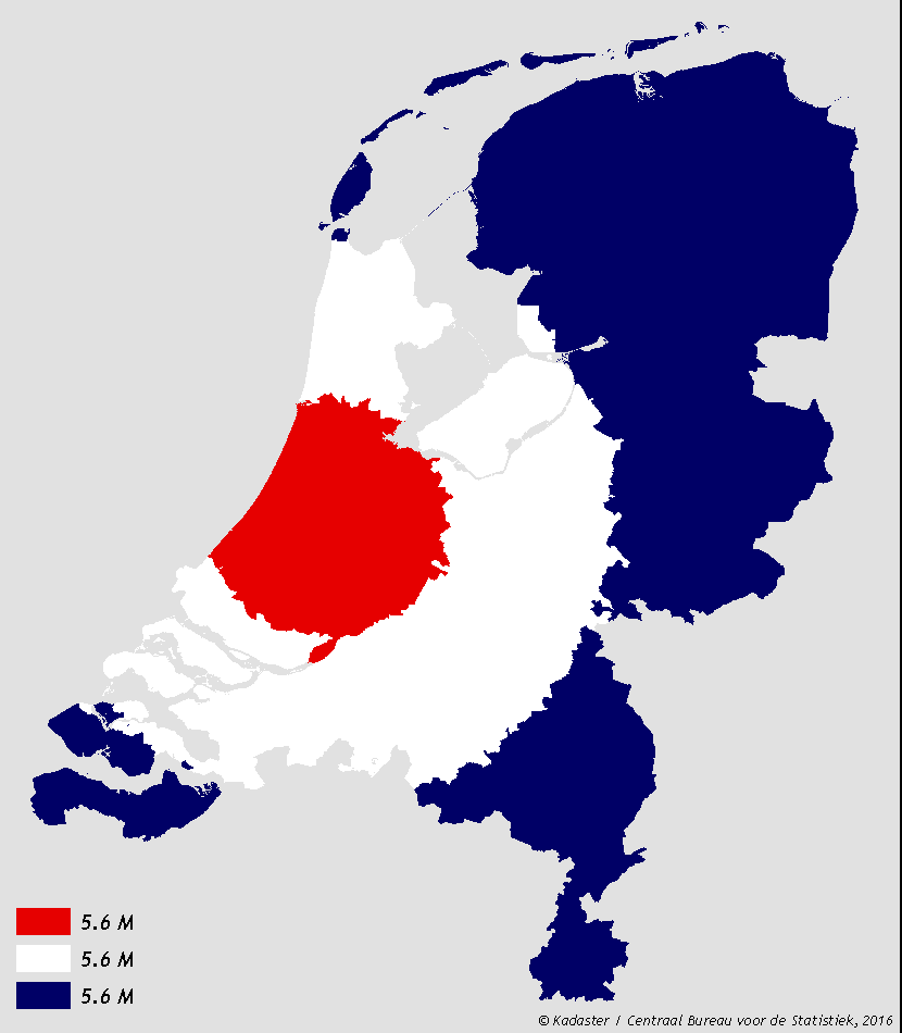 Netherlands split in 3 areas of equal population