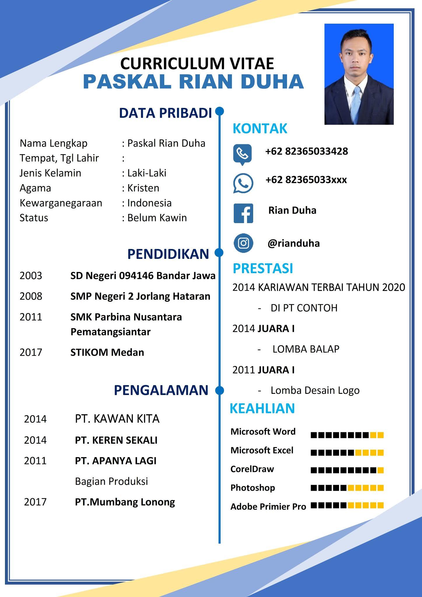 Download Gratis Template CV Lamaran Kerja Format Doc (Ms.Word) Bisa Edit -  Goliketrik