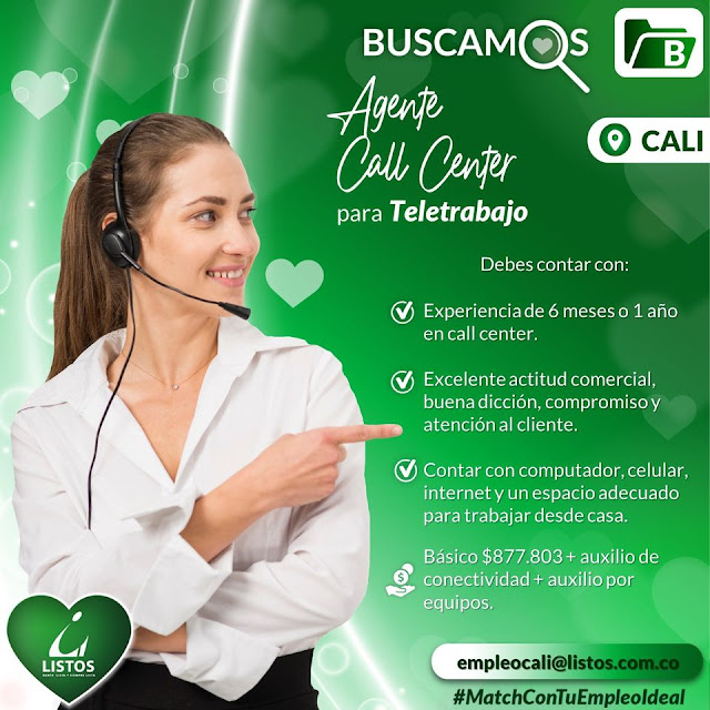 empleo en cali como agente call center teletrabajo