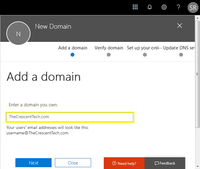 add domain in office 365