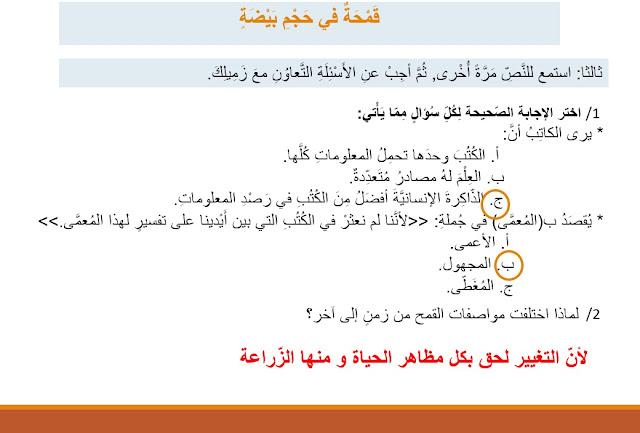 حل درس قمحة في حجم بيضة لغة عربية
