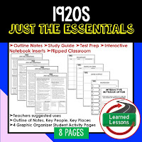 1920s, American History Outline Notes, American History Test Prep, American History Test Review, American History Study Guide, American History Summer School, American History Unit Reviews, American History Interactive Notebook Inserts
