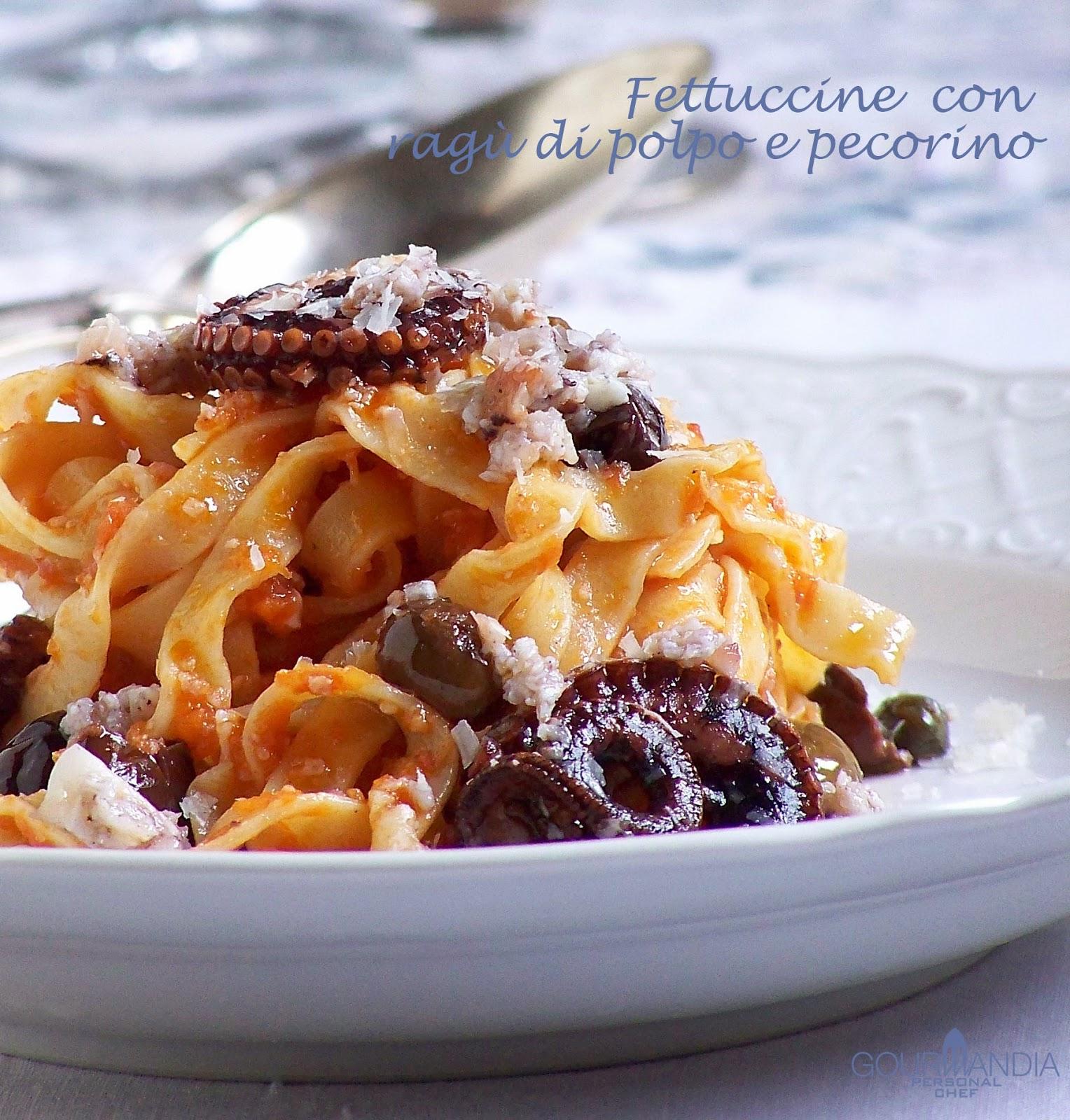 Fettuccine con rag di polpo e pecorino romano ricetta for Cibo tipico romano