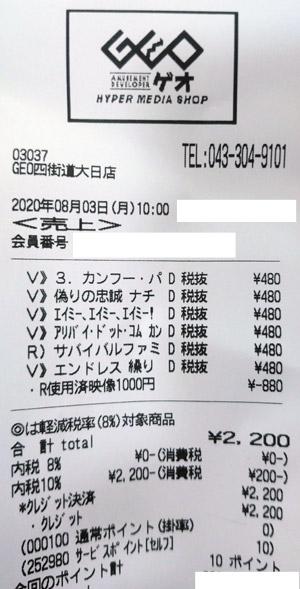 GEO ゲオ 四街道大日店 2020/8/3 のレシート