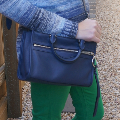 blue knit with Rebecca Minkoff Micro Bedford zip satchel in twilight | awayfromtheblue