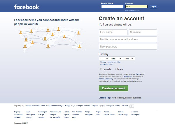 Create a new facebook account open