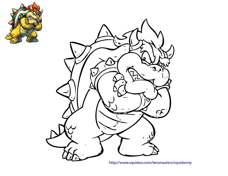 Mario Bros Coloring Pages Squid Army