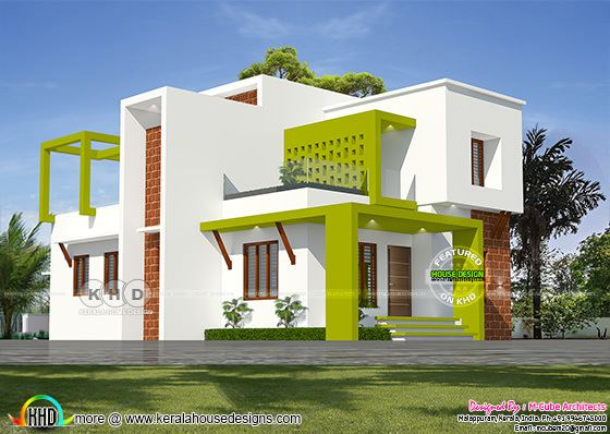 Contemporary house with florescent green show walls