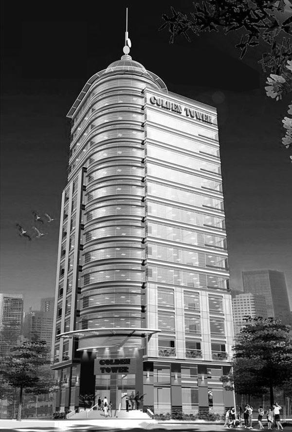 Bản vẻ thiết kế cao ốc văn phòng Golden Tower cao 15 tầng
