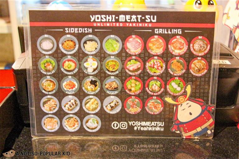 Menu of Yoshimeatsu Yakiniku
