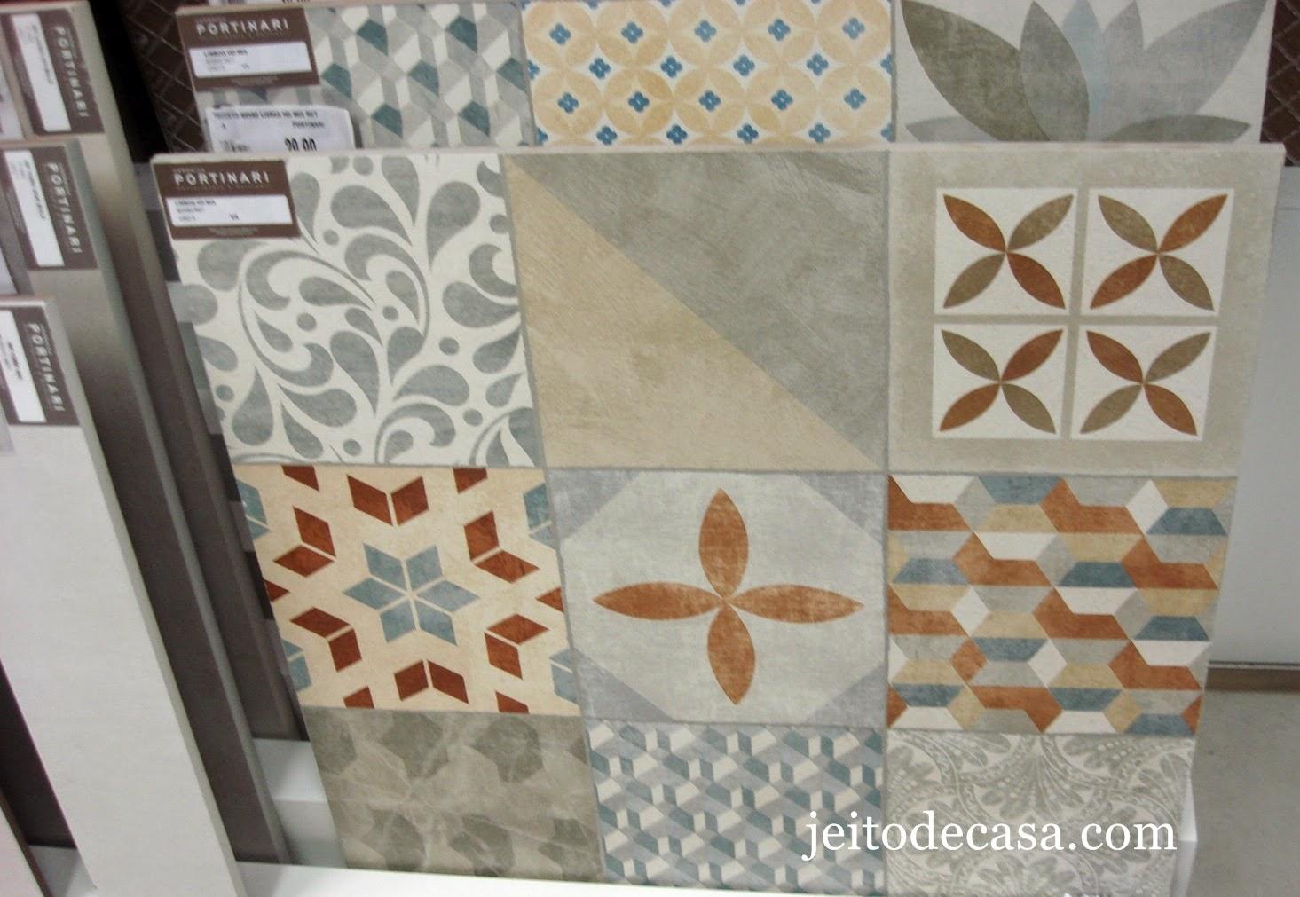 #6F4732 Porcelanatos com estampa de ladrilhos: Portobello Portinari Eliane e  1465x1011 px Banheiros Decorados Com Porcelanato Portinari 1099