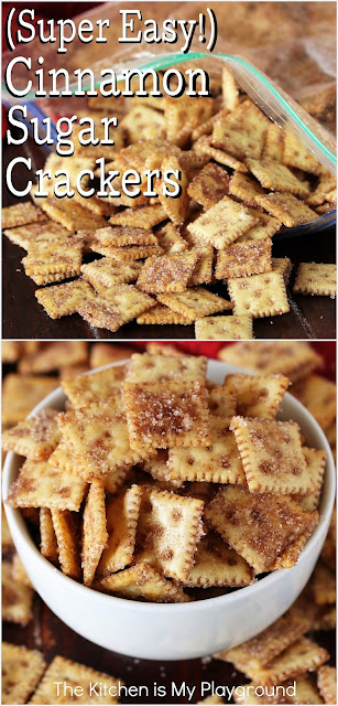 Super Easy Cinnamon Sugar Crackers ~ Cinnamon lovers, these crackers are for you! Loaded with fabulous cinnamon-sugar flavor, these tasty little bites truly couldn't be any easier to make -- so easy, you don't even need a bowl. Whip up a batch for any party, game-day get together, or for just plain everyday snacking. They make a great little gift-from-the-kitchen, too.  www.thekitchenismyplayground.com