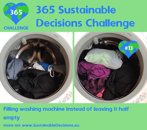 #13 - Filling washing machine instead of leaving it half empty, saving water, saving energy, sustainable living, sustainability, climate action
