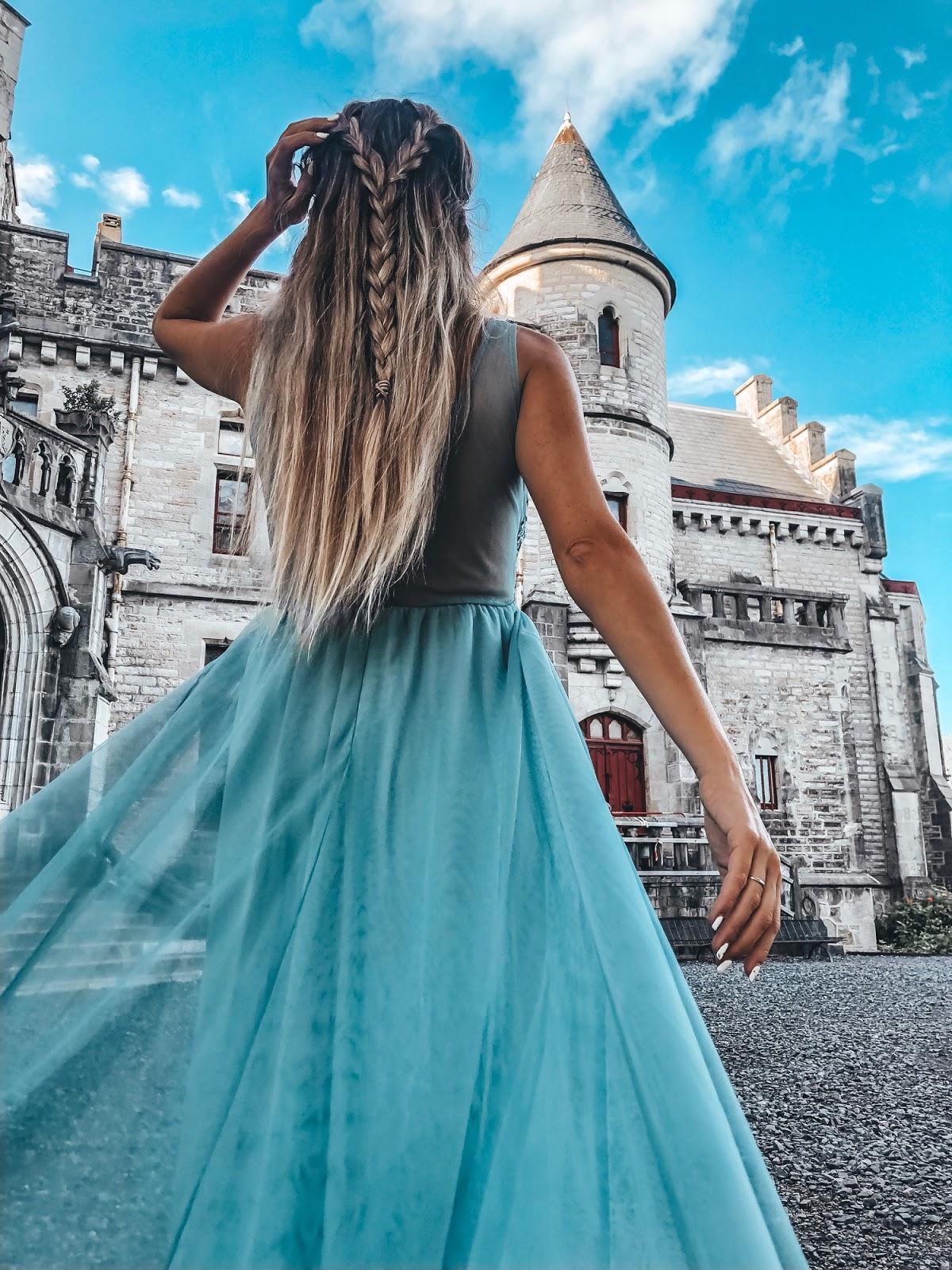vestido fiesta tul azul
