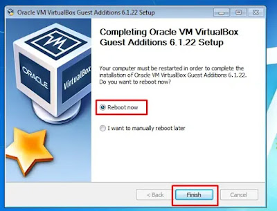Finish Install VirtualBox Guest Additions