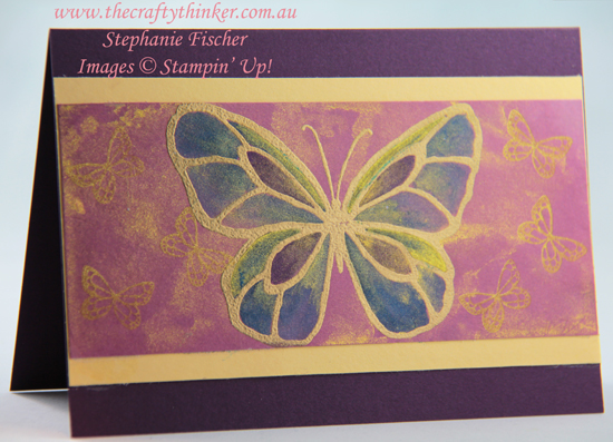 #thecraftythinker #stampinup #cardmaking #beautifulday #goldenglitz , Beautiful Day, Gold infused watercolour background, Golden Glitz, Stampin' Up Australia Demonstrator, Stephanie Fischer, Sydney NSW