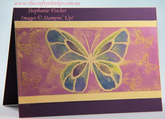 #thecraftythinker #stampinup #cardmaking #beautifulday #goldenglitz , Beautiful Day, Gold infused watercolour background, Golden Glitz, Stampin' Up Australia Demonstrator, Stephanie Fischer, Sydney NSW