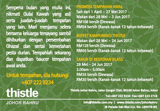 thistle jb buffet ramadhan