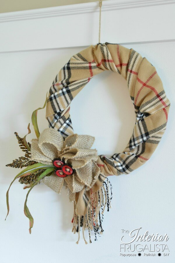 Fake Burberry Repurposed Fall Scarf Wreath
