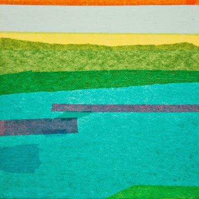 "Ocean Line by Jacqueline Steudler, 6""x6"" collage on canvas"