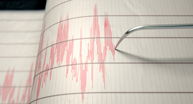 Seismic graph measuring earthquake activity in Iceand