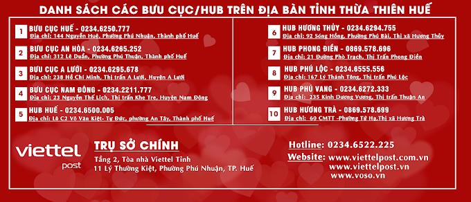 Danh sách các bưu cục/Hub chuyển phát nhanh Viettel Post Huế