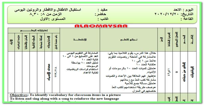 تحضير المستوى الاول من يوم الاحد 20 ديسمبر الى 23 ديسمبر