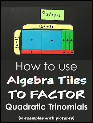 Are you looking to use algebra tiles to make factoring more visual? In this post are 4 examples of how to use algebra tiles to factor quadratic trinomials, including trinomials where A>1 and with negative B and C values. Also includes a link to a free printable pdf set of algebra tiles to use in your math classroom.