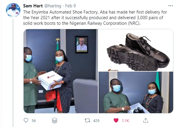 #MadeInNigeria NRC Acquires 3,000 Pairs Of Aba-Made Boots From Enyimba Shoe Factory