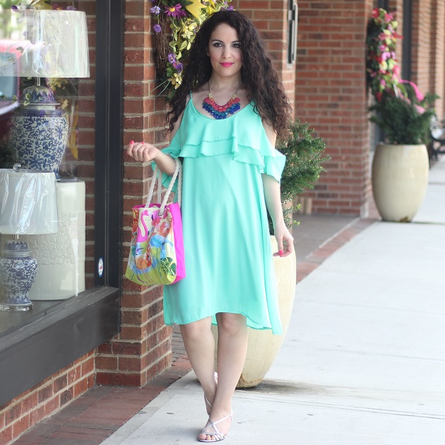 Green OTS Ruffle Dress