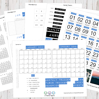 January 2021 Bullet Journal / Planner Free Printable Stickers!