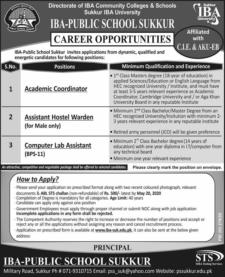 IBA Public School Sukkur Jobs