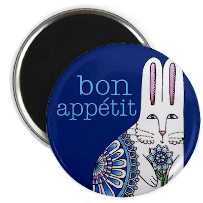 round magnet with bunny and word Bon Appetit