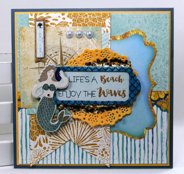 Life's a Beach Greeting Card  by Ginny Nemchak using BoBunny Down by the Sea Collection
