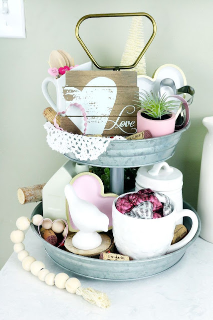 Cute tiered tray decorating idea for Valentine's Day.