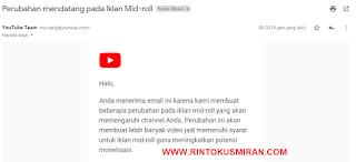 Perubahan mendatang pada Iklan Mid-roll Pada Youtube