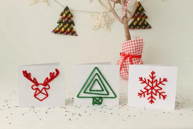 postal-navidad-diy-materiales-reciclados-tarjetas-cosidas
